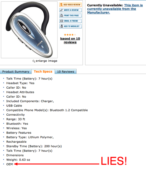 Buy.com Sells Refurbished Bluetooth Headsets Listed As New