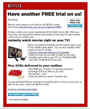 Netflix Offers Ex-Customer Disappearing Free Trial – Consumerist
