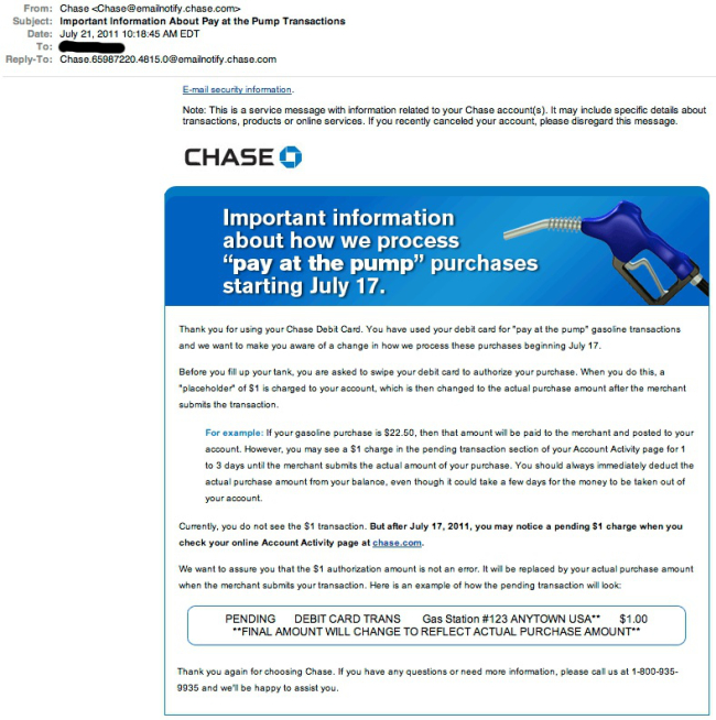 Chase Wants To Alert You To Important New Policy Change