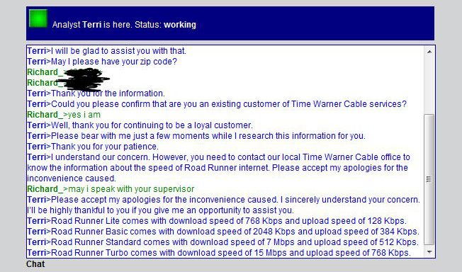Road Runner Rep Acts All Weird About Request For Upload/Download Speeds