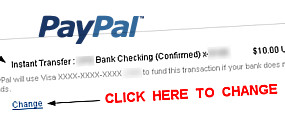 Keep PayPal From Using The Default ATM Debit Setting
