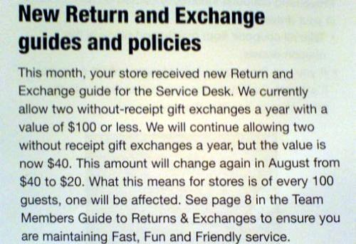 Target Revises Return And Exchange Policy Items With No Receipt