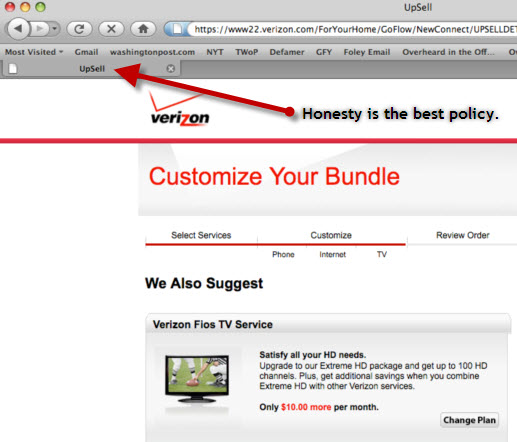 "The Verizon Website Is Surprisingly Honest About ""Upselling"" You"