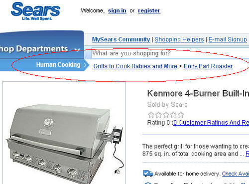 "Sears Caught Selling ""Grills to Cook Babies"" Thanks To Poorly Built Website"