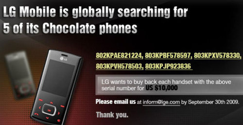 LG Looking To Buy Back 5 Phones For $10k Each