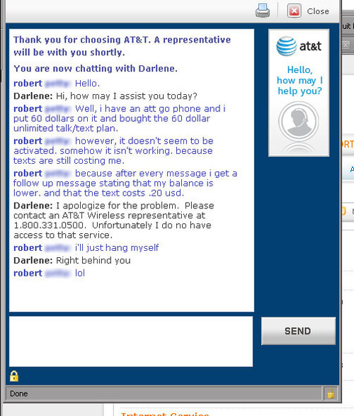 AT&T Rep Wants To Die