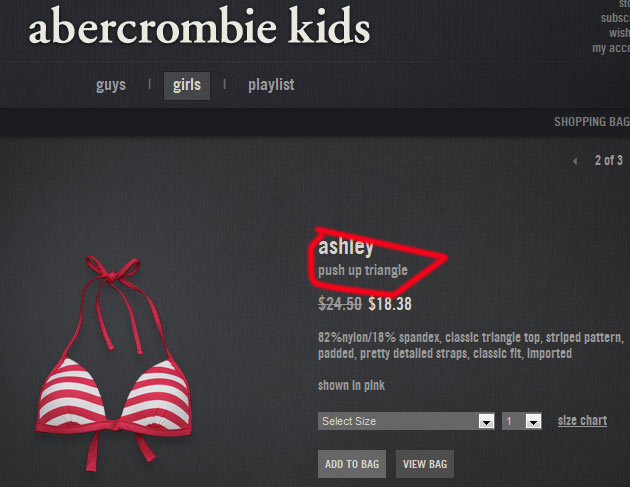 Why Is Abercrombie Ing Push Up S To 7 Year Old Consumerist