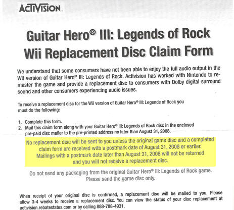 Guitar Hero For Wii Owners Are Furiously Angry At Having To Mail Their Discs To Activision