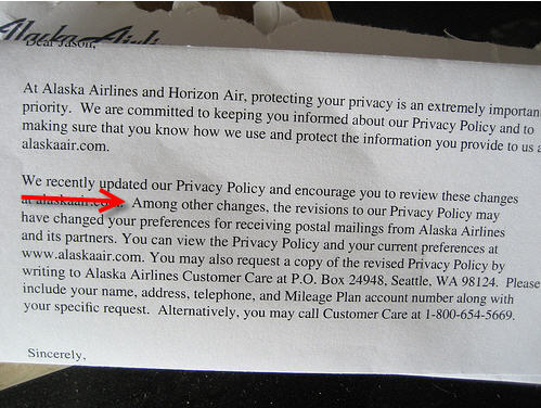 Alaska Air's New Privacy Policy 'Changes Your Preferences'