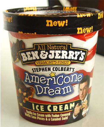 "Stephen Colbert Tastes Like ""Vanilla Ice Cream with Fudge Covered Waffle Cone Pieces & a Caramel Swirl"""
