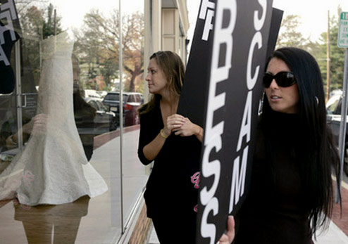 Dressless Brides Picket Bankrupt Millburn NJ Bridal Shop
