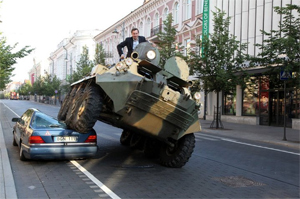 Mayor Crushes Car Parked In Bike Lane With Armored Vehicle