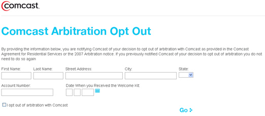 Opt Out Of Comcast's Arbitration Agreement