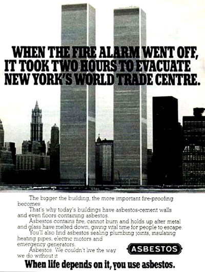 Retro Asbestos/Twin Towers Ad. The Black Irony Coughs Itself Up.