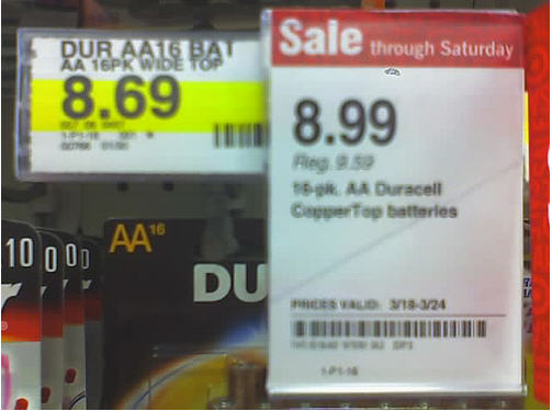 Awesome Target Battery Sale: Regular Price $8.69 On Sale For $8.99?