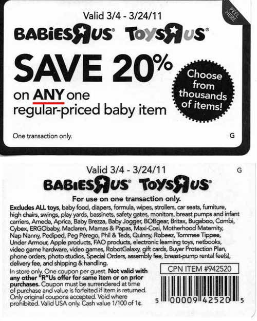 what can this babies r us coupon actually be used for