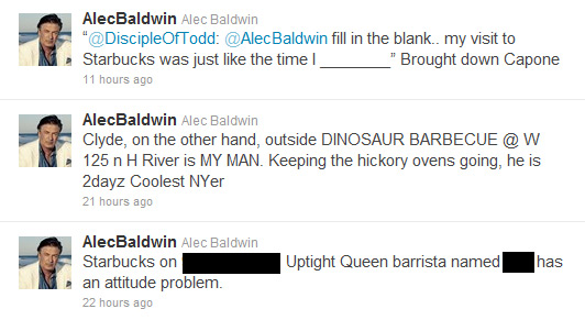 Alec Baldwin Tweets Rant About Starbucks Employee By Name And Store Address