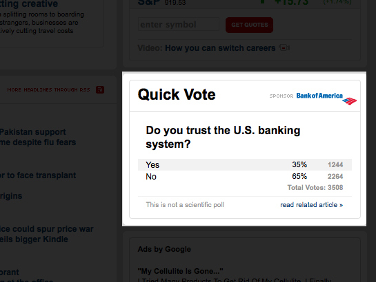 Bank of America-Sponsored Poll Shows That Most Americans Don't Trust Banking System