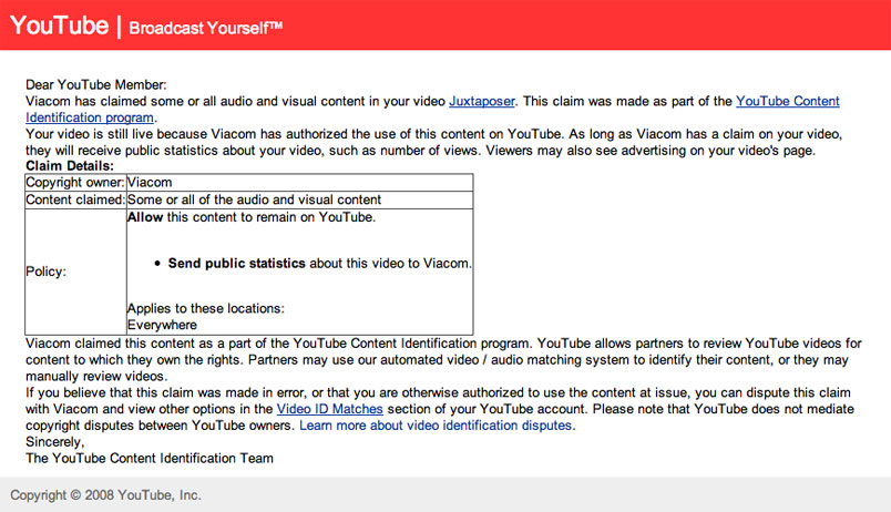 Viacom Fraudulently Claims Ownership Of Indie Filmmakers' YouTube Clips
