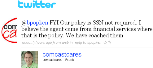 "Comcast Admits Error In Requiring SSN Under ""Patriot Act"""