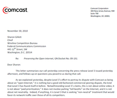 Comcast's Letter To The FCC About Netflix Tollgate