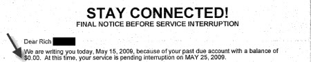Comcast Threatens To Cut You Off Unless You Pay $0.00