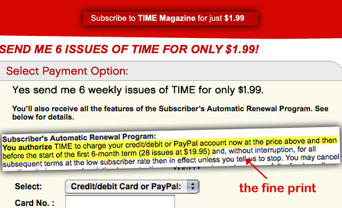 "TIME's ""Subscribe For $1.99"" Offer Misleading"