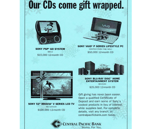 Bank Offers Gadgets Instead of Interest on CDs