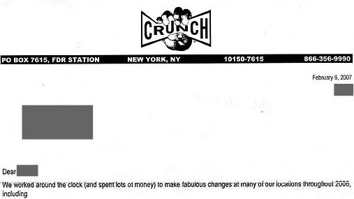 "Crunch Gym Tries To Charge Extra For ""Improvements"""