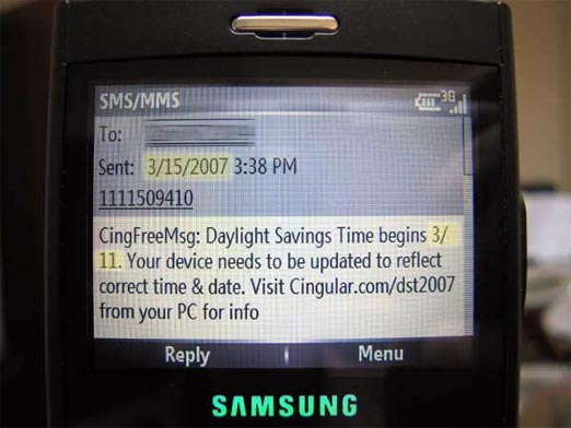 Cingular Notifies You About Daylight Savings Time… Today
