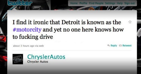 "Chrysler Tweets No One In Detroit ""Knows How To F****** Drive"""