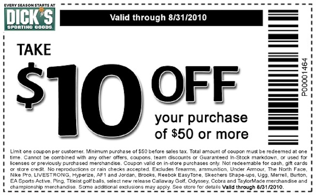 Dick's $10 Off Coupon Good For Most Things, Not The Item You Want