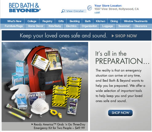 Bed Bath And Beyond Sees The California Earthquake As An Excellent Marketing Opportunity?