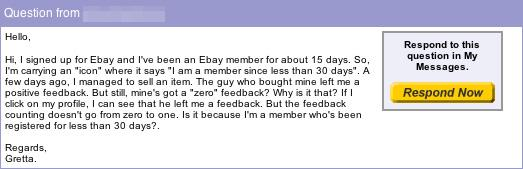 Live From eBay: Missing Feedback for New Members?; Update: A Scam!