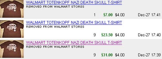 Walmart Nazi Tshirt Prices Rise On eBay