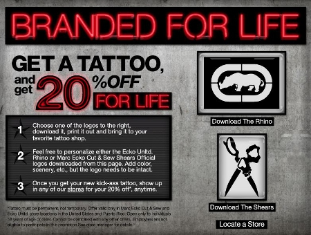 Tattoo Yourself With The Ecko Logo And Get 20% Off For Life