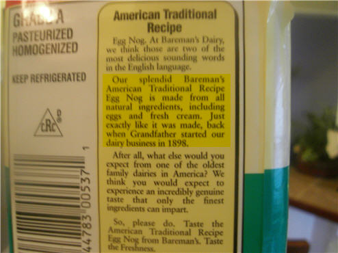 Our Egg Nog Is Made Exactly Like It Was In 1898! With HFCS!