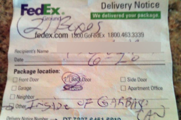 FedEx Delivers My Packages To The Garbage Can, Trash Collectors Deliver Packages To Back Of Garbage Truck