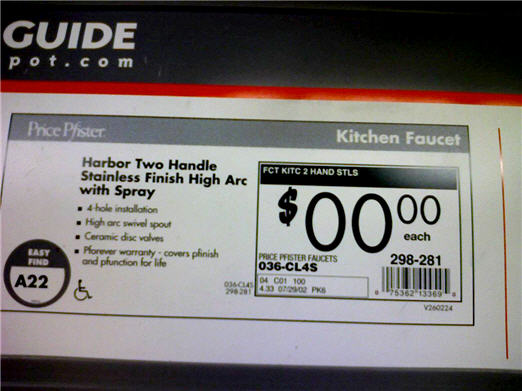 Home Depot: This Faucet Costs $00.00