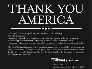 Chrysler Buys Ads Thanking You For Tax Money, You Get Pissed, Chrysler Censors You