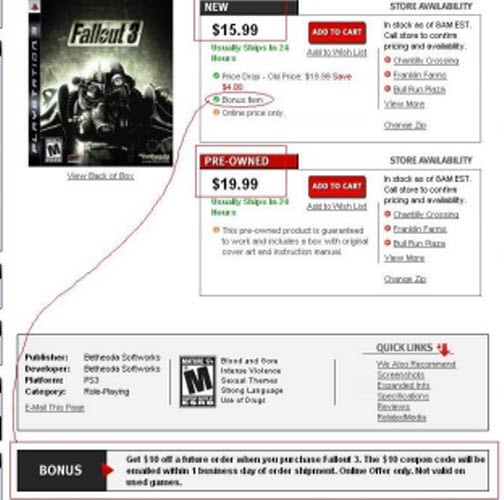 GameStop Doesn't Want You To Buy A Used Copy Of Fallout 3