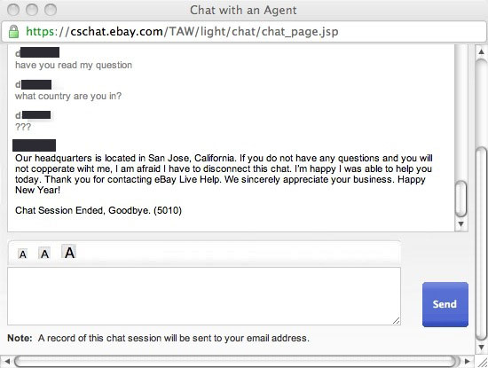 "eBay Chat Agents Live In The Mythical Nation Of ""Chat Session Ended"""