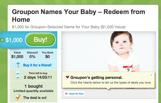 "Would You Like To Pay Groupon $1K to Name Your Baby ""Clembough""?"