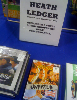 Best Takes In-Store Display Cashing In On Heath Ledger's Death Very Seriously