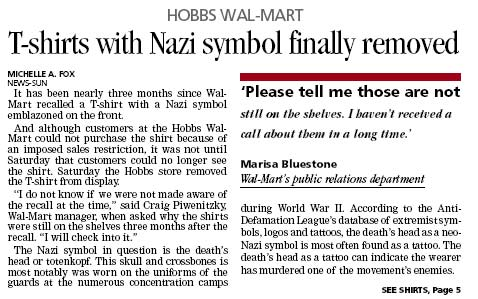 New Mexico Paper Gives Front Page Coverage To Walmart's Nazi Shirts