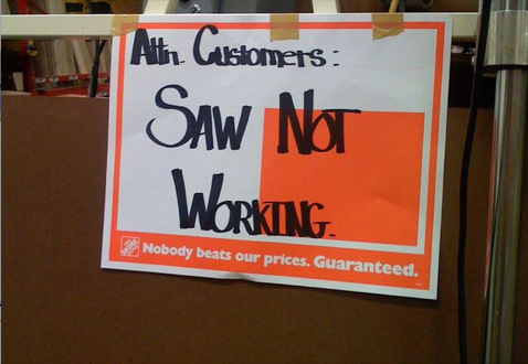 Lazy Home Depot Employees Declare Fully Functioning Saw Inoperative