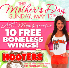 Why Not Treat The Special Mom In Your Life To Free Wings At Hooters This Sunday?
