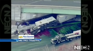 Giant UPS Ink Crash Turns Highway Technicolor