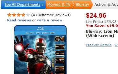 Walmart Cancels $15 Iron Man 2 Pre-Orders Because They're Out Of Stock, But Has Plenty Of $25 Copies Available