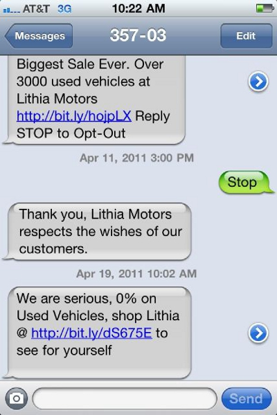 Lithia Motors Doesn't Believe You Actually Want To Opt Out Of Their Text Message Spam